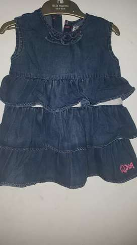 Terusan susun anak bahan jeans merk Qna  uk 4 th