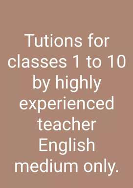 Tutions for classes 1 to 10 (only englsh medium)