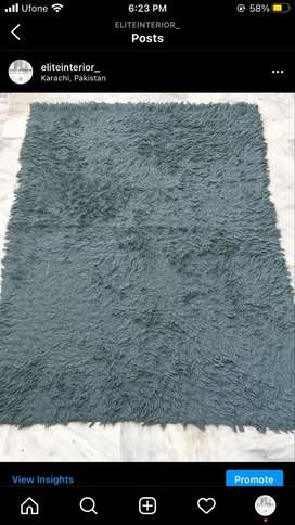 Large sea green colour furry rug