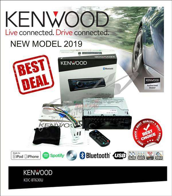 Kenwood KDC-BT630U Bluetooth USB CD Player Time Alignment 3XRCA Outs 0