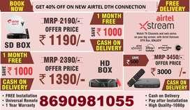 Book New Airtel  Setop box lowest price SD BOX/ HD BOX All India
