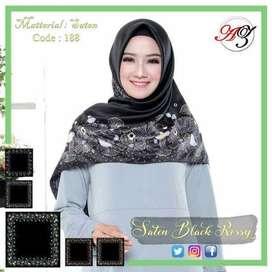 Obral jilbab segiempat murah motif warna hitam merk Azara hijab jogja