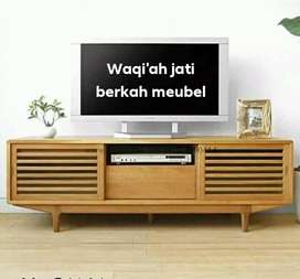 Meja tv Retro modern & elegan, P. 150cm, bahan kayu jati tua terbaik