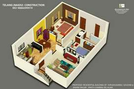 30x41 house 2 bhk bore colour compound fully developed area&much more