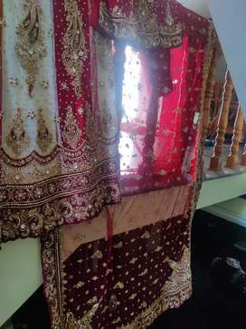 Lehanga (white and red ,heavy royal work with stone