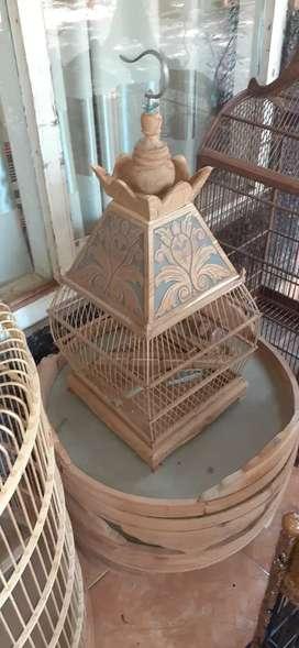 Sangkar Burung, motif kerucut ukiran,kayu jati gread b open,freeongkir