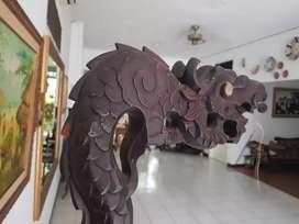Kayu Tiang Lampu ukiran Naga Antik