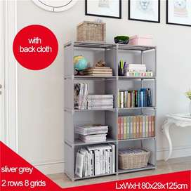 Double Row 8 Grid Simple Bookshelf Non-Woven Fabric.