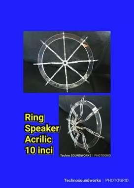 Ring speaker acrilic sub woofer 10 inci buat Fantasi audio mobil sound