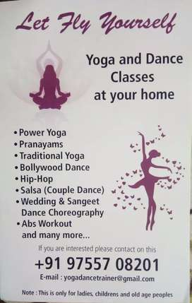 Yoga and dance classes at your home...online classes available