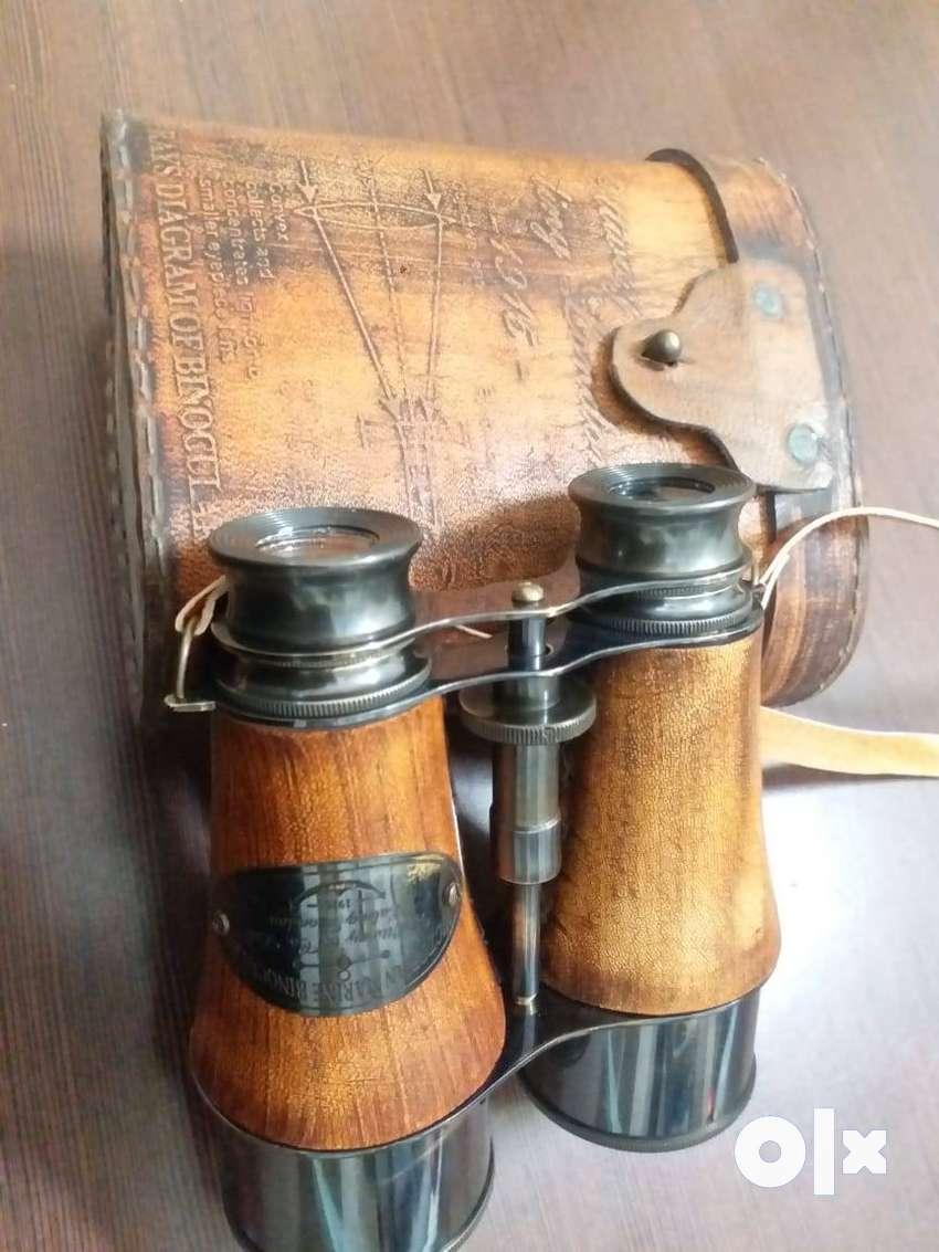 antique victorian marine brass leather binocular sailor instrument lon 0