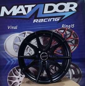 velg hsr murah ring 15x7 type VITAL semi matt black