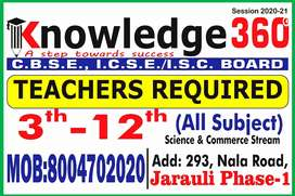 Teachers requirement in a coaching institute for class 3-12