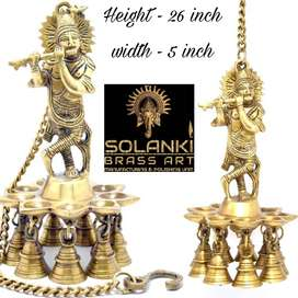 Krishna Brass statue with diva hanging