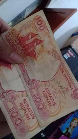 100 rupiah perahu pinisi tahun 1992