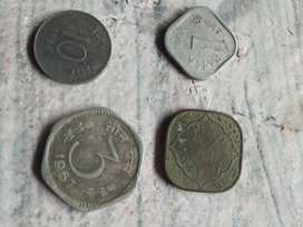 Four Assorted Indian Paise Coins