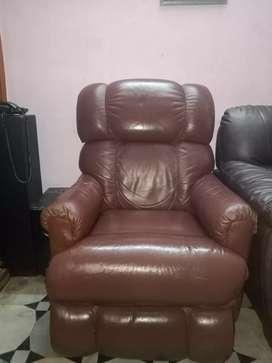 Pure Original Leather Brown Sofa Recliner 1+1