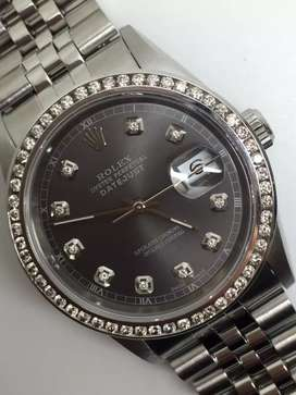 Rolex Men SS Grey RomanEdged Diamond Marker