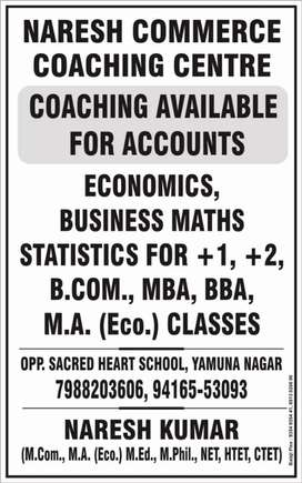Accounts coaching home and group tution