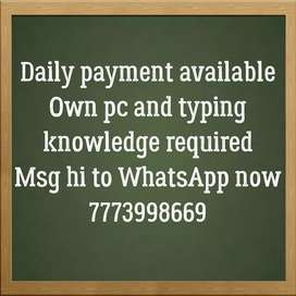 Get paid daily for typing work
