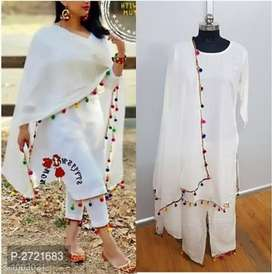 Straight Pom Pom Kurtis Pant Dupatta SET {Scroll to see more samples