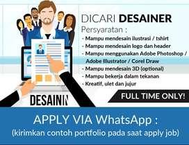Dicari Desainer Full Time (online / remote)
