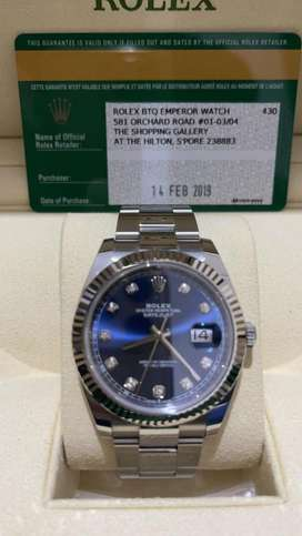 ROLEX OYSTER PERPETUAL DATEJUST DIAMOND 41MM BLUE DIAL