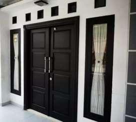 Pintu kupu tarung+kusen+2jendela+kusen kayu mahoni garapan joss