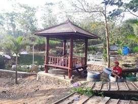 Saung Gazebo kayu glugu ukuran 2x2m free ongkir dan pasang