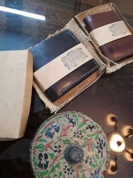 Leather hand crafted card holder and wallet