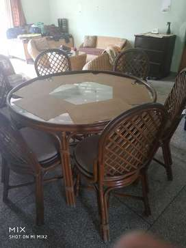Dinning table with 6 chairs and sofaset 3+1+1 with center table