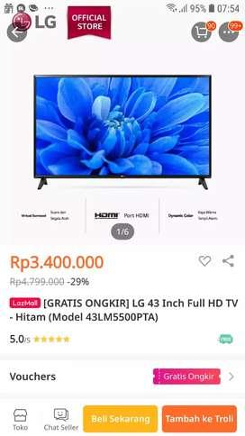 LG 43inch full hd tv -hitam (model 43LM 5500PTA) murah cuma 3,2juta