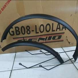 Spakbor sepeda lipat 16 inci hitam doft/matte fender mudguard