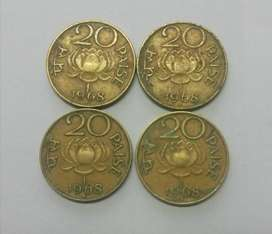 20 paise 1968 lotus coin set of 4