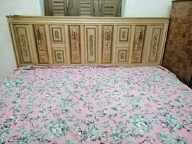 Set of wooden bed, dressing table and side tables