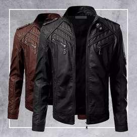Jaket kulit jaket semi bayar di tempat COD(gratis dompet kulit)