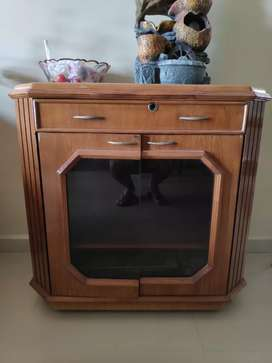 Movable TV Trolley with mini cupboard
