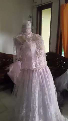 Baju pengantin putih gading mulus