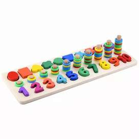 Mainan anak/ montessori donat shape/ 3 in 1 puzzle number and shape