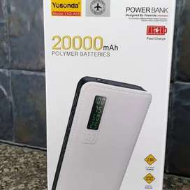 Power Bank Yosonda 20,000 mAh Polymer Batteries 2.1A Quick Charger