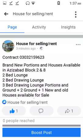 Fb area , Azizabad House for rent