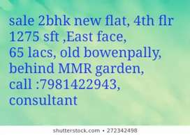Sale 2bhk flat 1275 sft new, at old Bowenpally 4th floor, 65 lacs