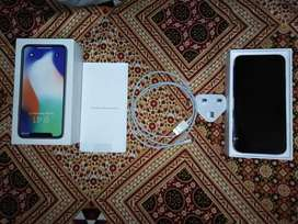 Iphone X silver 256 100% Battery Health with imei Matched box