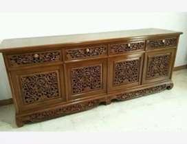 Meja rak bufet tv ukiran material kayu jati P:200xL:45xT:75cm.
