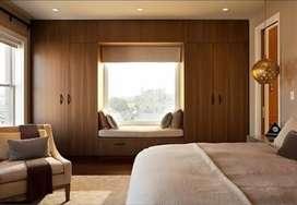 Interior ruangan - kitchen set - backdrop tv - wallpaper - vinyl kayu