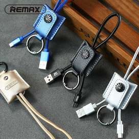 Keychain- REMAX  Mobile Moss Data Cable (UNIQUE GADGET)Genuine Leather