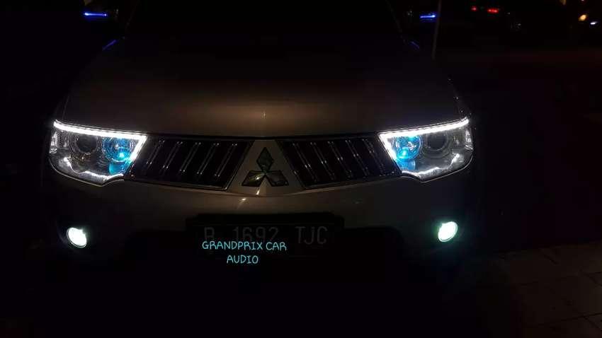 modifikasi penambahan lampu alis crystal runing pajero plus pasang 0