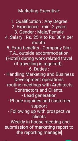 Documentation executive vacancy in Kaloor