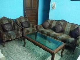 Pure sagvan wood five seater sofa set
