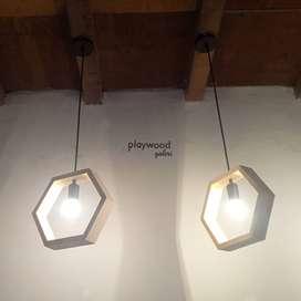 Lampu Gantung Kayu Industrial Hexagonal untuk Cafe Rumah Kantor